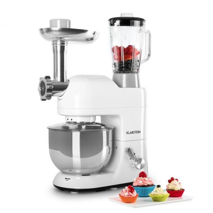 Klarstein Lucia Bianca Robot de cuisine Pétrin Mixeur Hachoir 1200w 5l