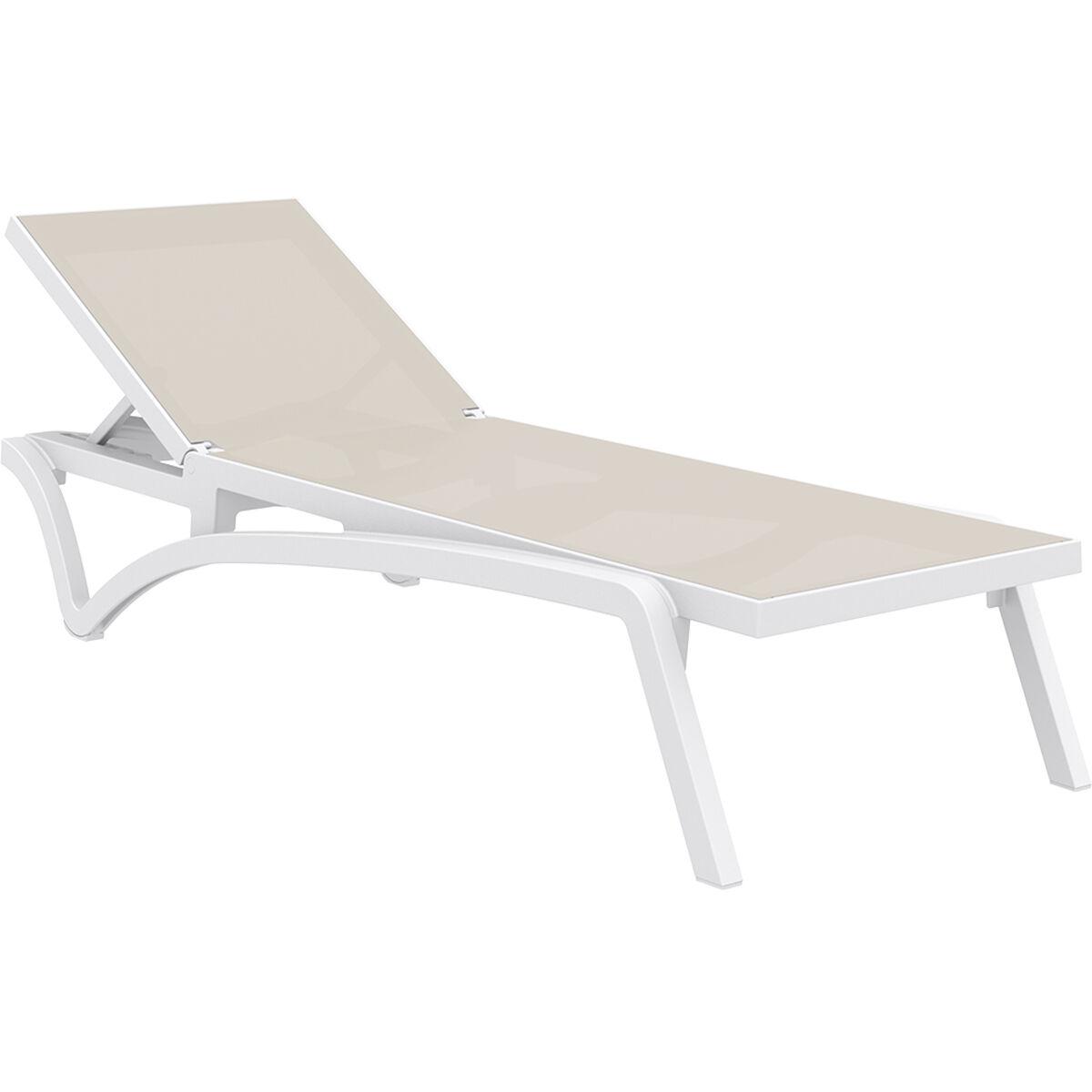 Miliboo Chaise longue empilable blanc et taupe CORAIL
