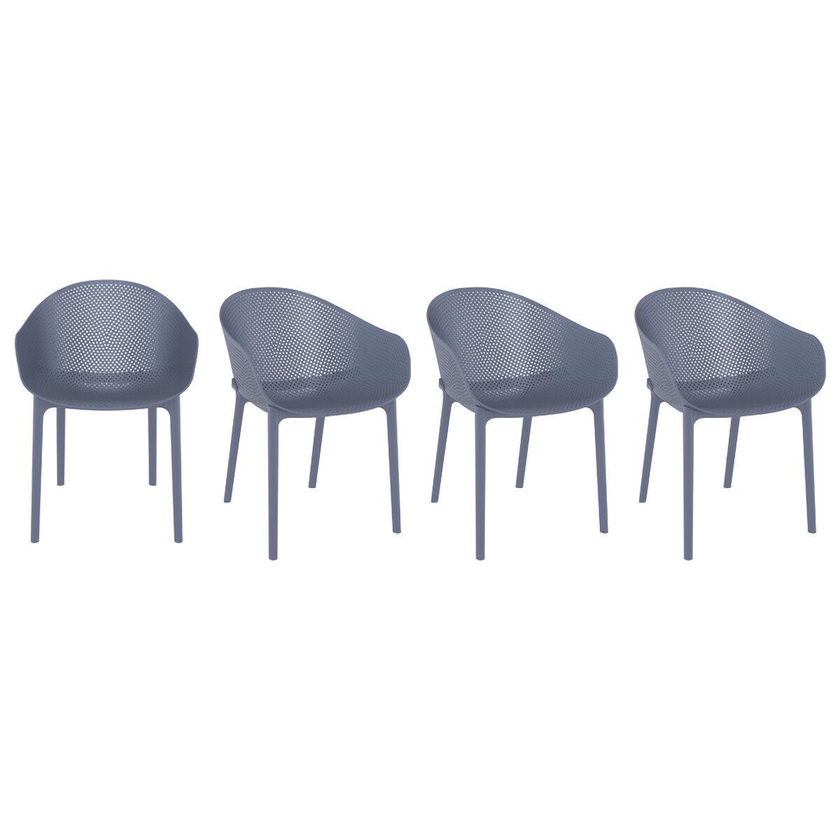 Miliboo Chaises design grises intérieur / extérieur (lot de 4) OSKOL