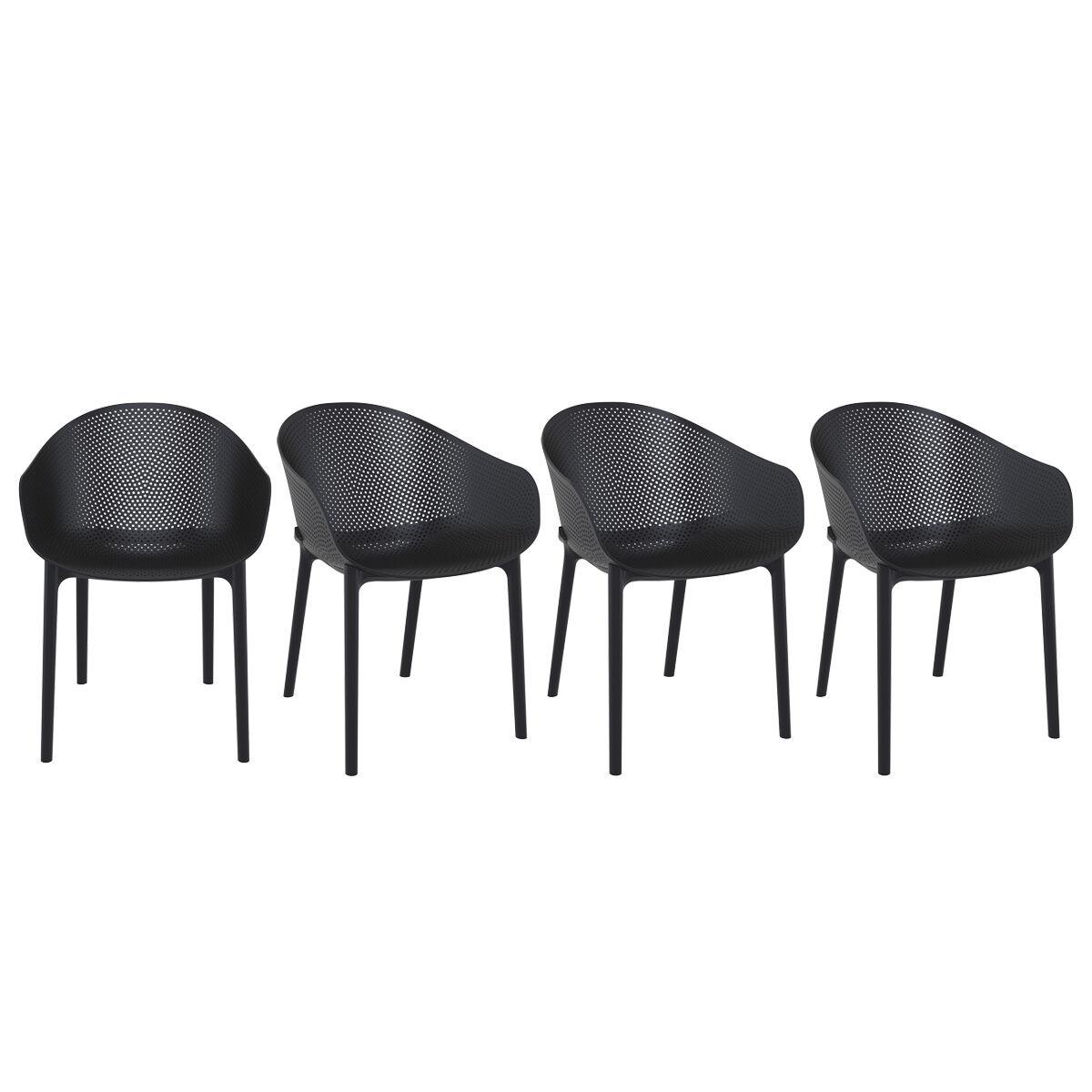 Miliboo Chaises design noires intérieur / extérieur (lot de 4) OSKOL