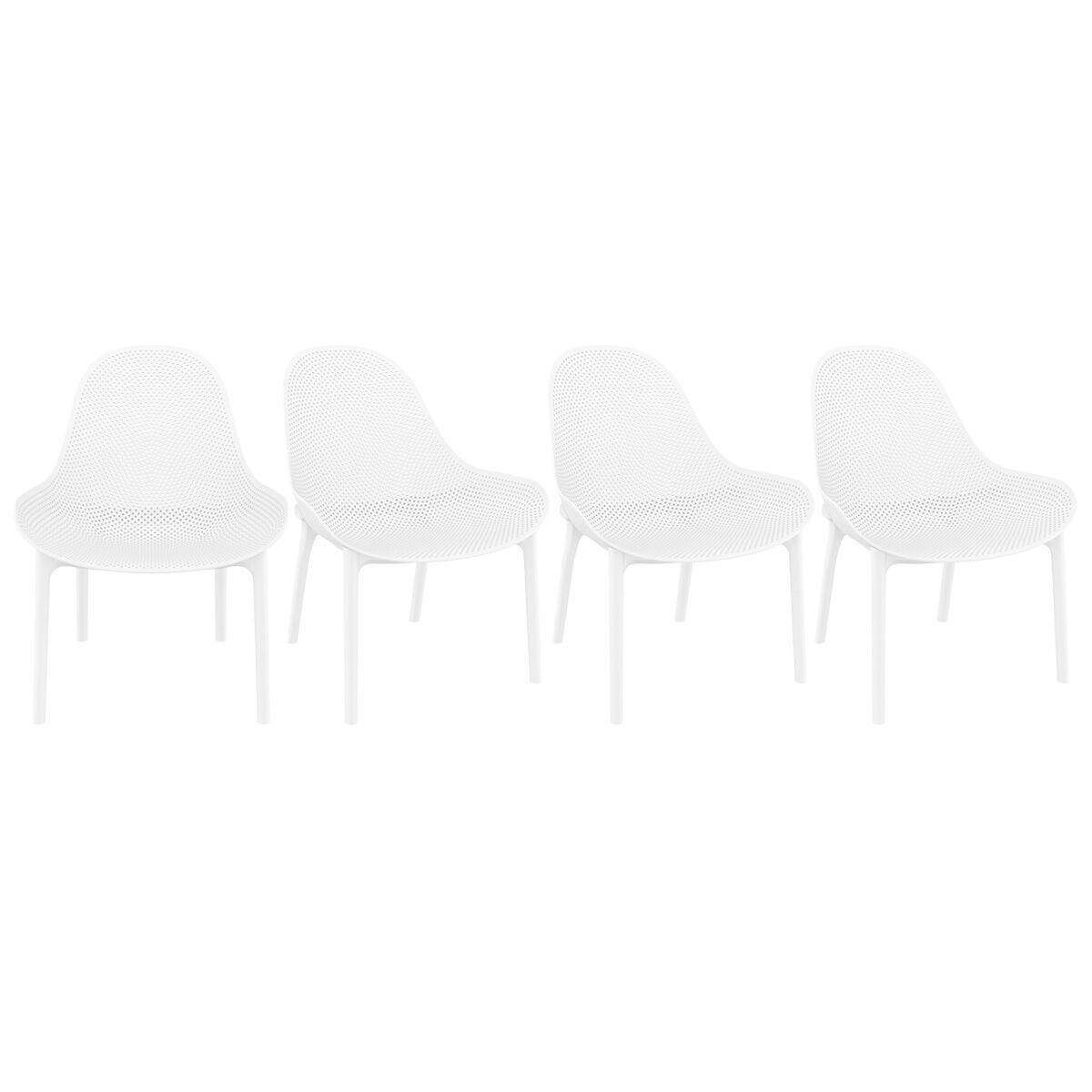Miliboo Chaises lounge blanches intérieur / extérieur (lot de 4) OSKOL