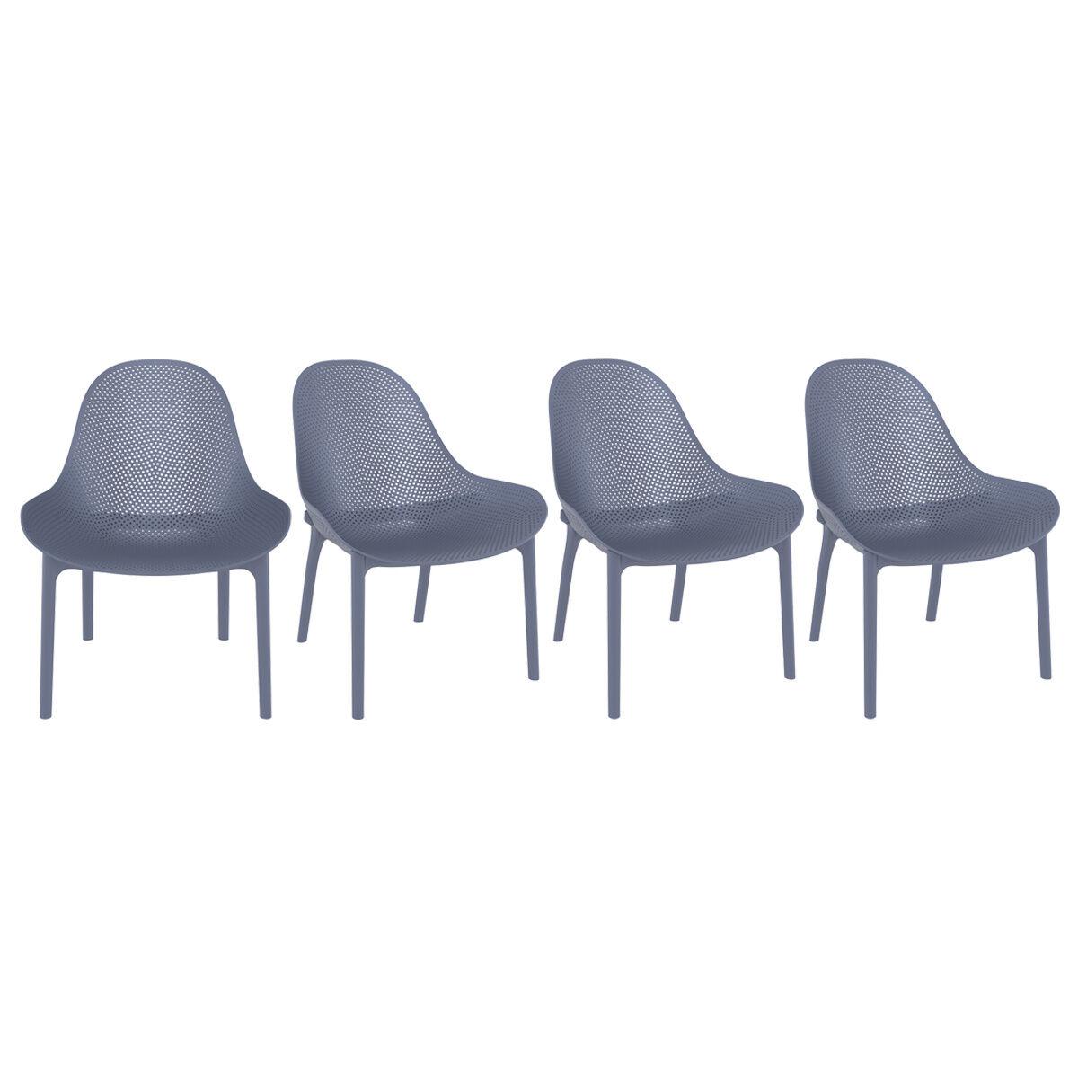 Miliboo Chaises lounge grises intérieur / extérieur (lot de 4) OSKOL