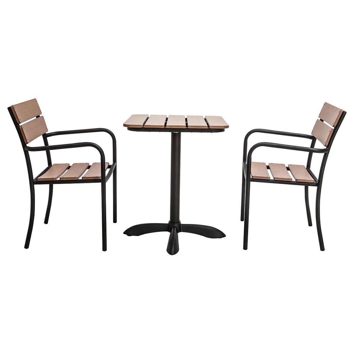 Miliboo Salon de jardin avec table bistrot et 2 chaises noir et bois PUB