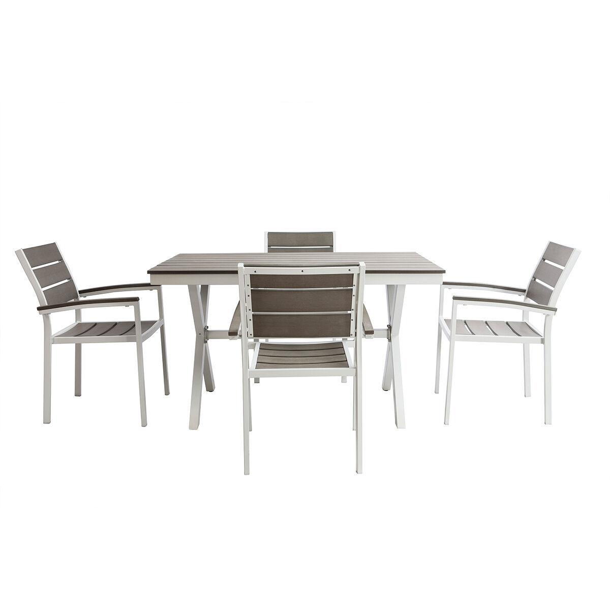 Miliboo Salon de jardin avec table et 4 chaises blanc et gris VIAGGIO