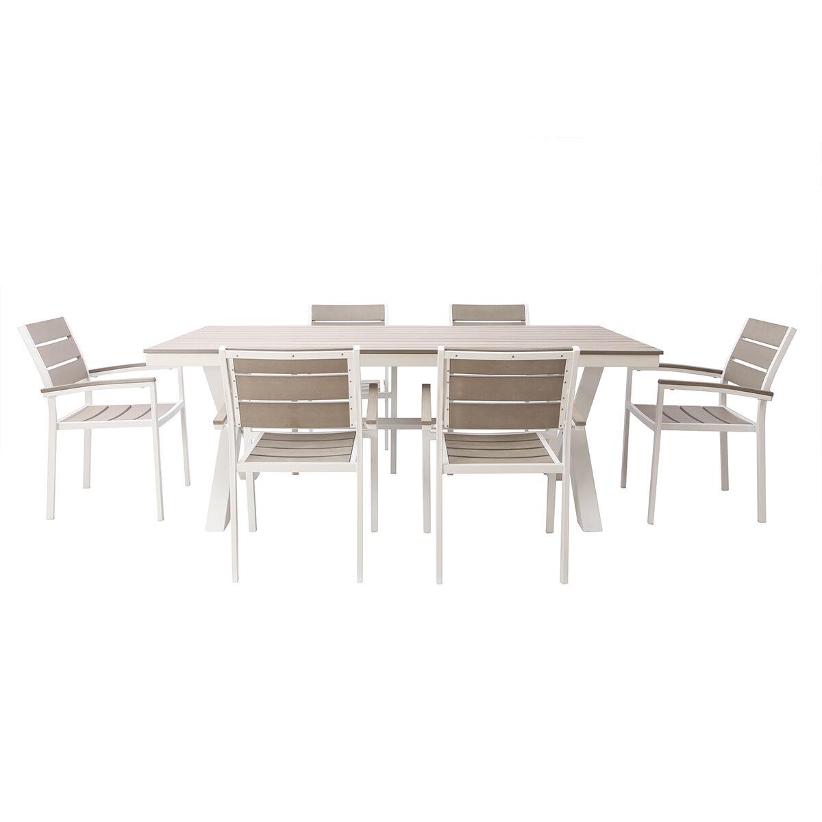 Miliboo Salon de jardin avec table et 6 chaises en métal blanc et bois gris VIAGGIO