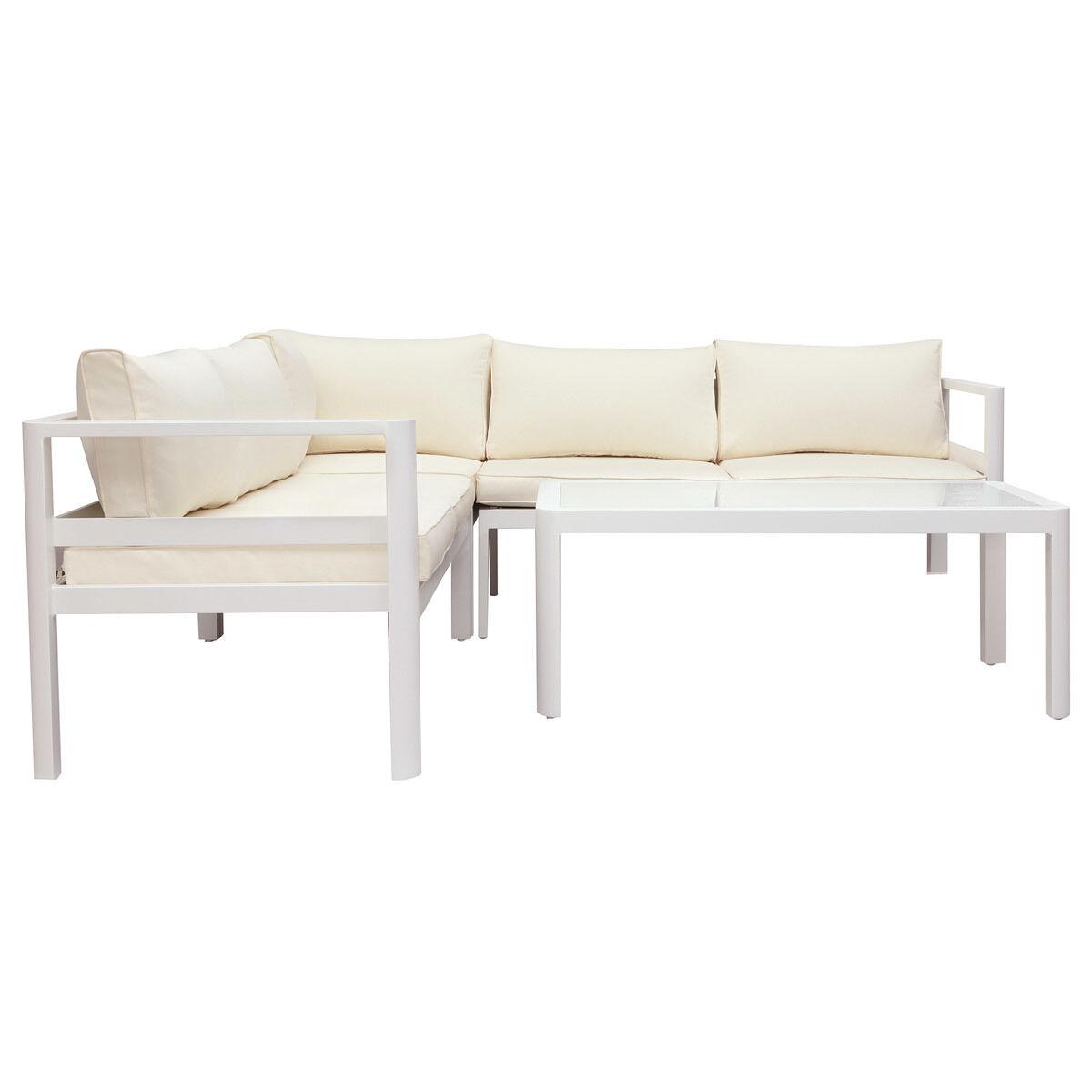 Miliboo Salon de jardin design blanc avec table basse TONIGHT