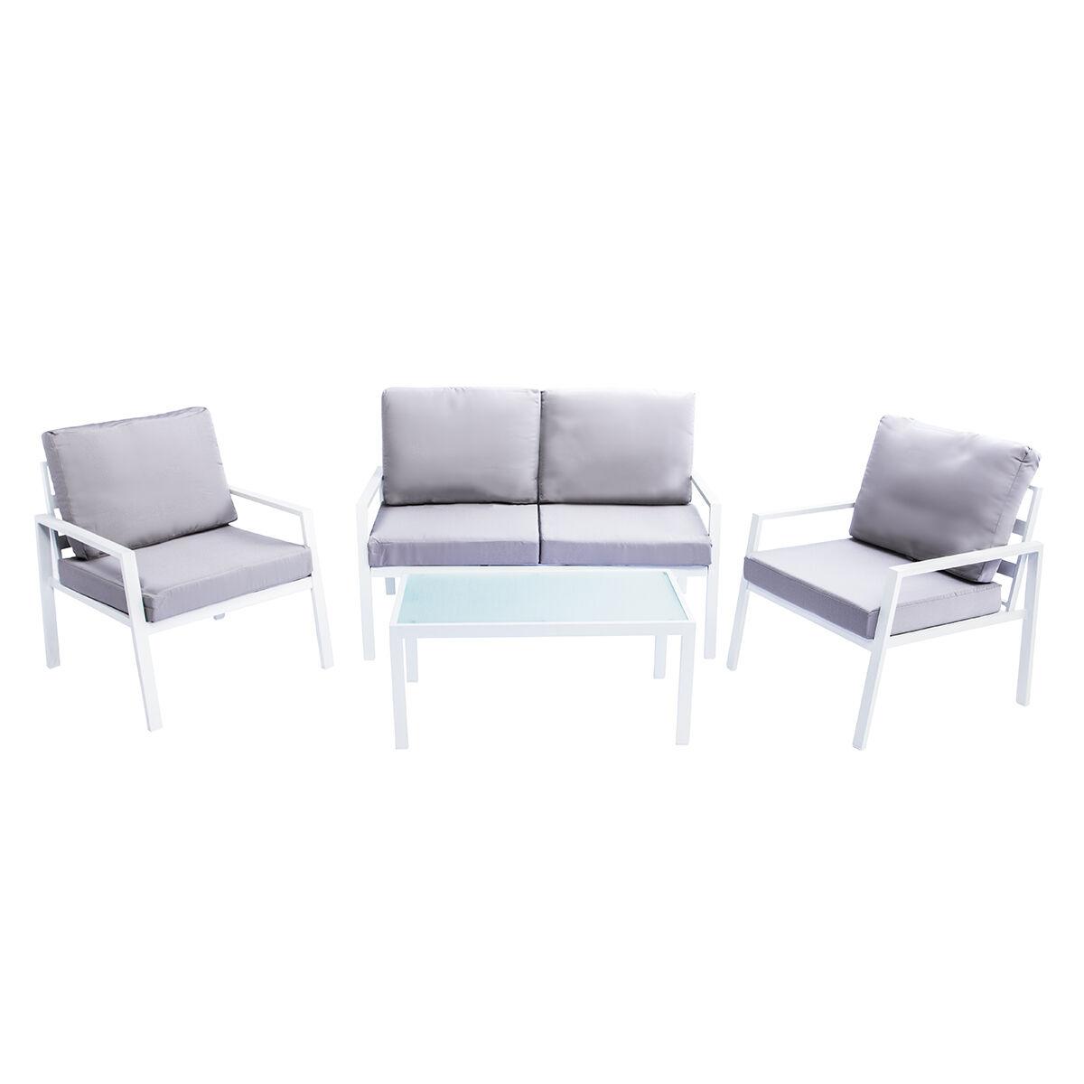 Miliboo Salon de jardin en métal blanc avec table, banc et 2 fauteuils CALA