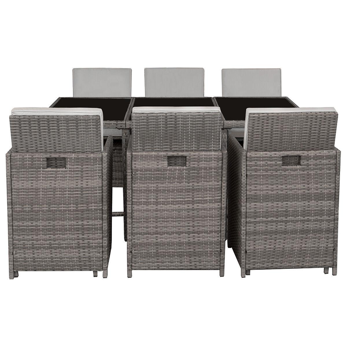 Miliboo Salon de jardin en résine tressée avec table et 6 fauteuils gris DALIAS