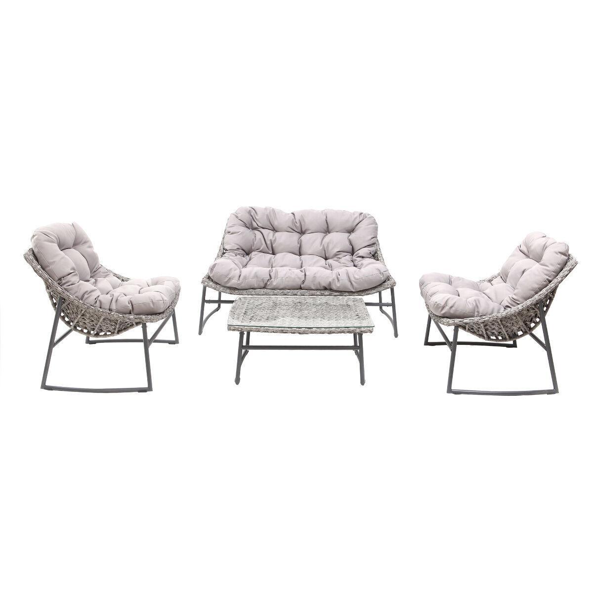 Miliboo Salon de jardin en résine tressée gris avec table basse COMFY