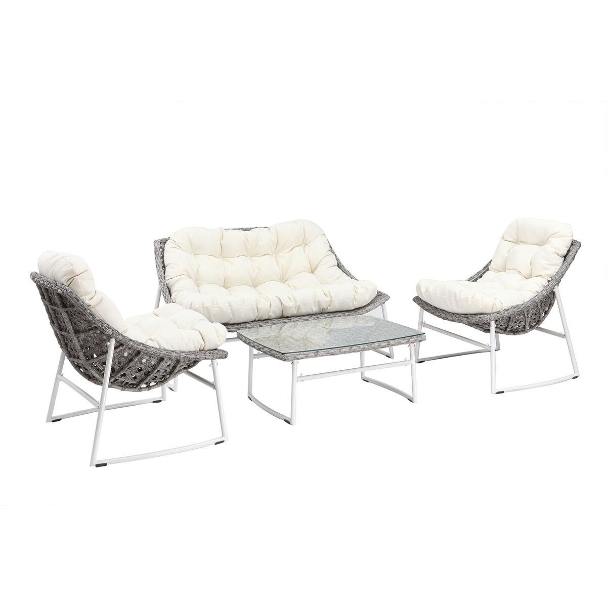Miliboo Salon de jardin en résine tressée gris et blanc avec table basse COMFY