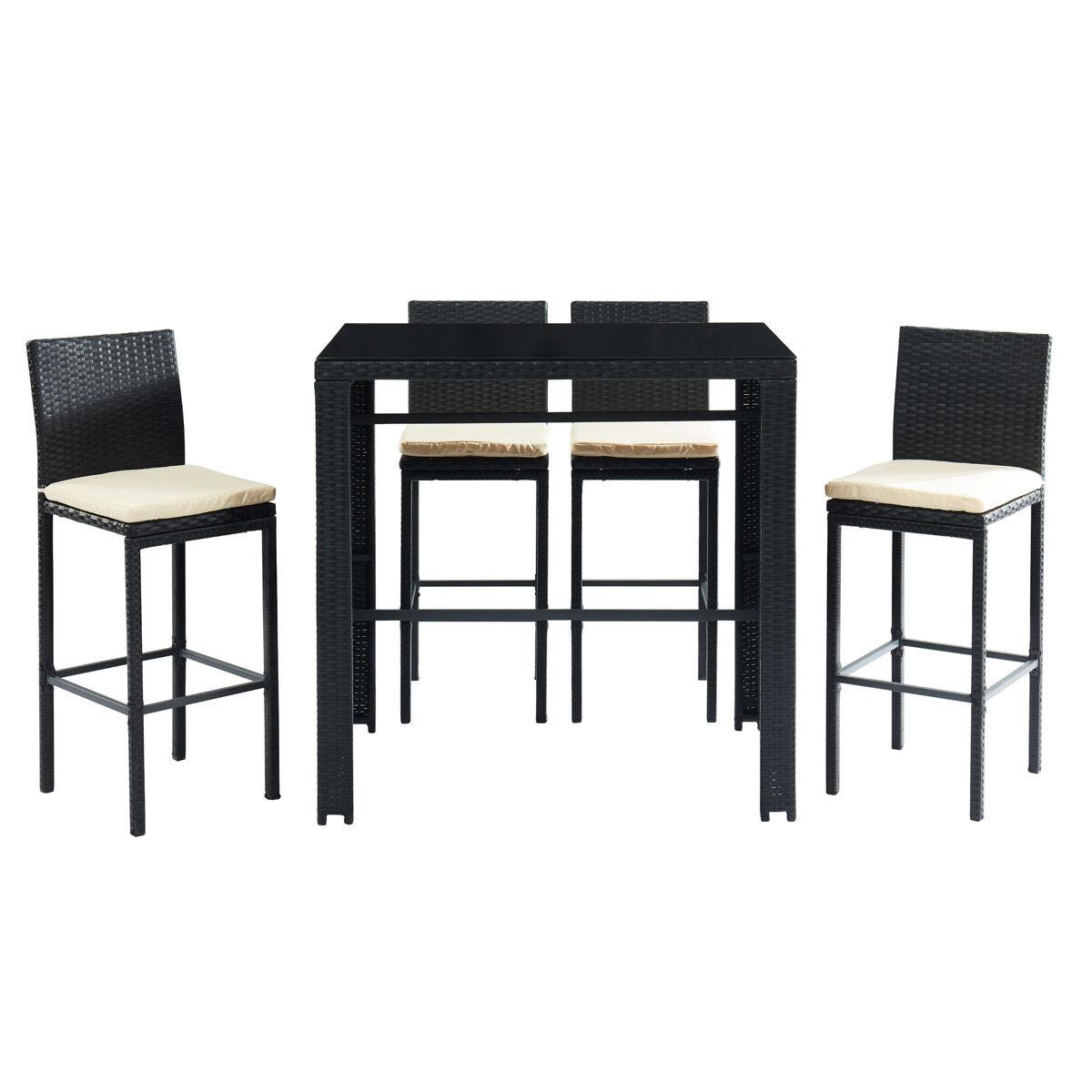 Miliboo Salon de jardin en résine tressée noire avec table de bar et 4 chaises JAVEA