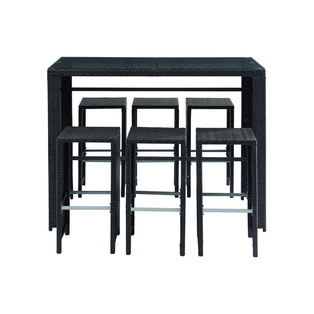 Miliboo Salon de jardin en résine tressée noire avec table et 6 chaises hautes CANCUN