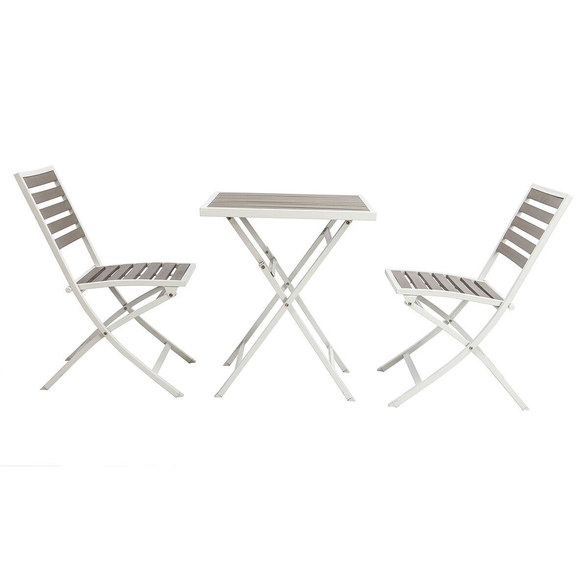 Miliboo Salon de jardin pliable avec table et 2 chaises blanc et gris MOJITO