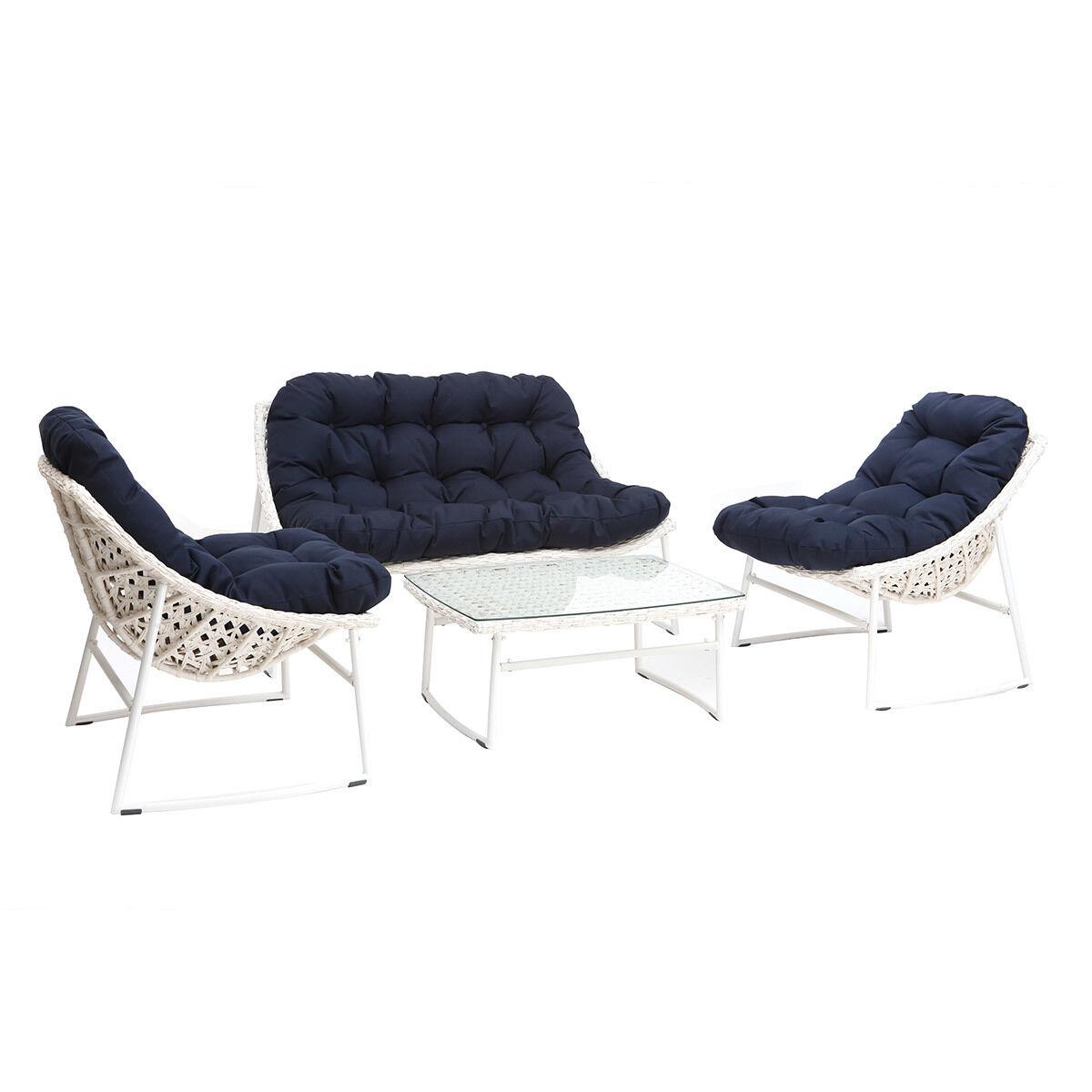 Miliboo Salon de jardin résine tressée blanc et bleu foncé avec table basse COMFY