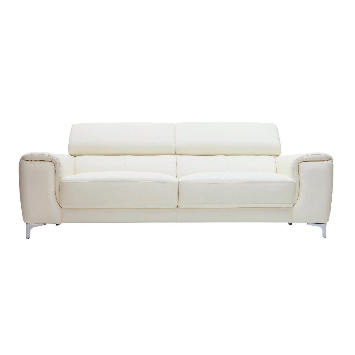 Miliboo Canapé cuir design trois places avec têtières relax blanc NEVADA - cuir de buffle