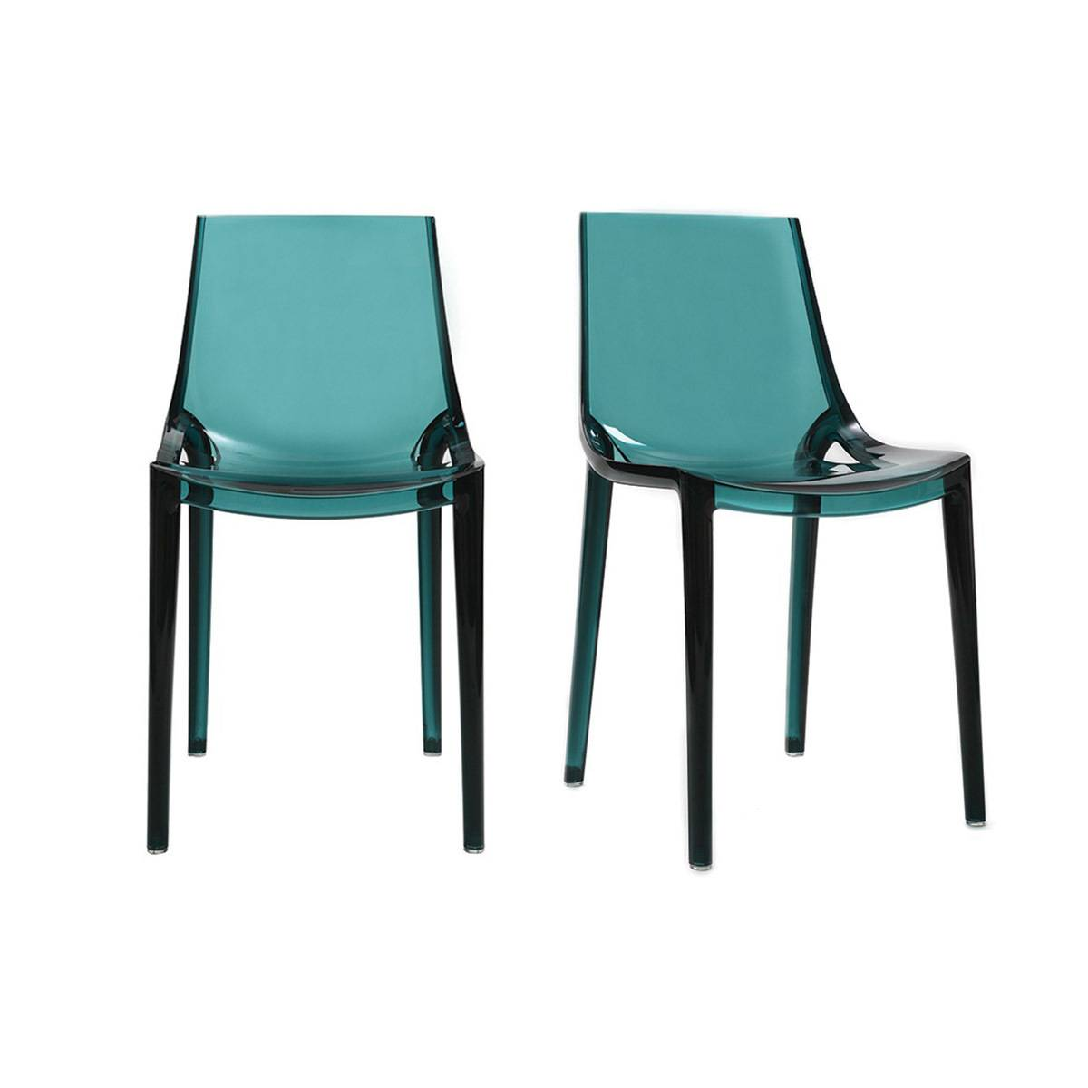 Miliboo Chaises design bleu pétrole empilables intérieur / extérieur (lot de 2) YZEL