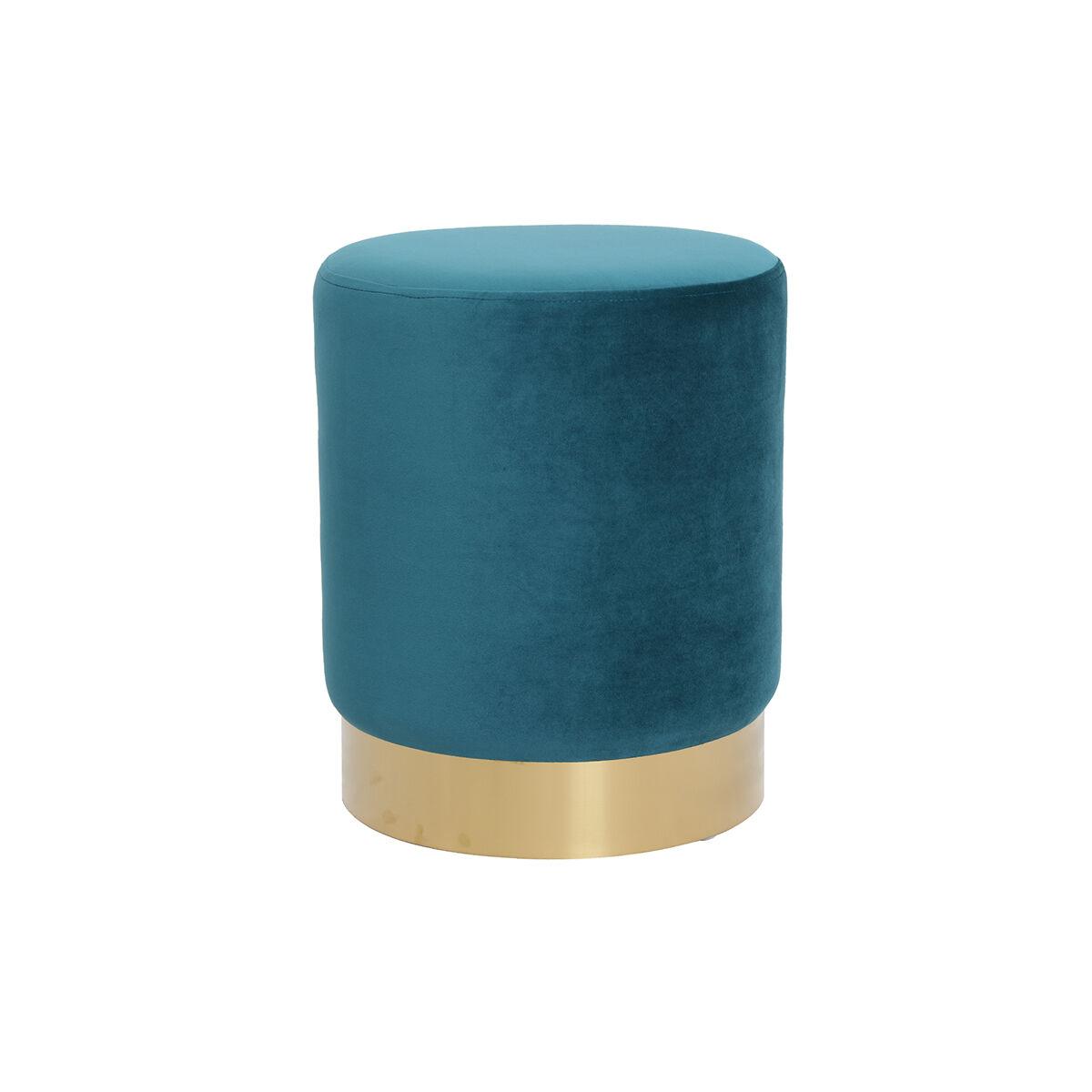 Miliboo Pouf rond en velours bleu canard et métal doré AMAYA