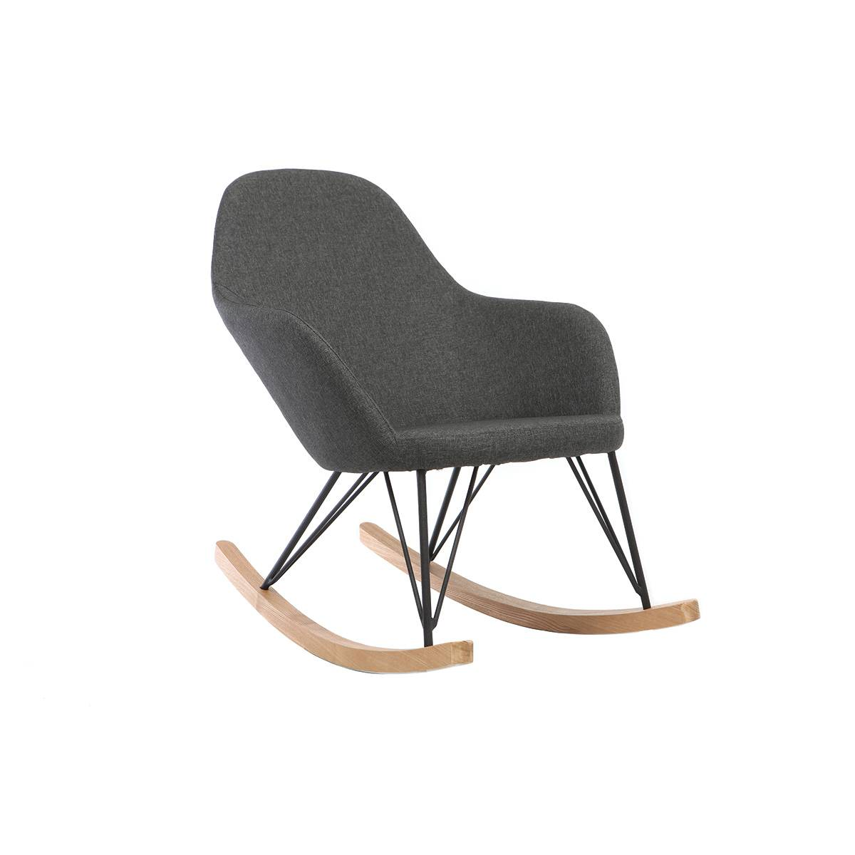 Miliboo Rocking chair tissu gris anthracite pieds métal et frêne JHENE