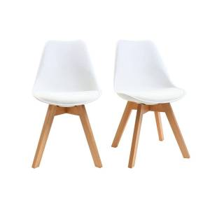 Miliboo Chaises design blanches avec pieds bois (lot de 2) PAULINE