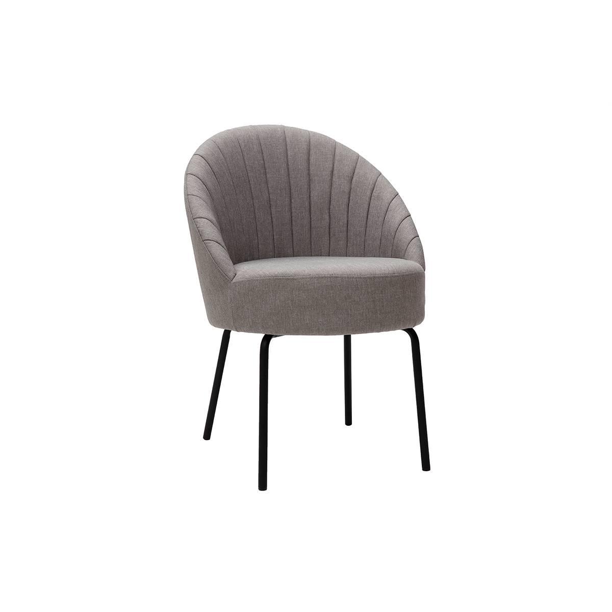 Miliboo Chaise design tissu gris et métal noir IZAAC - Miliboo & Stéphane Plaza