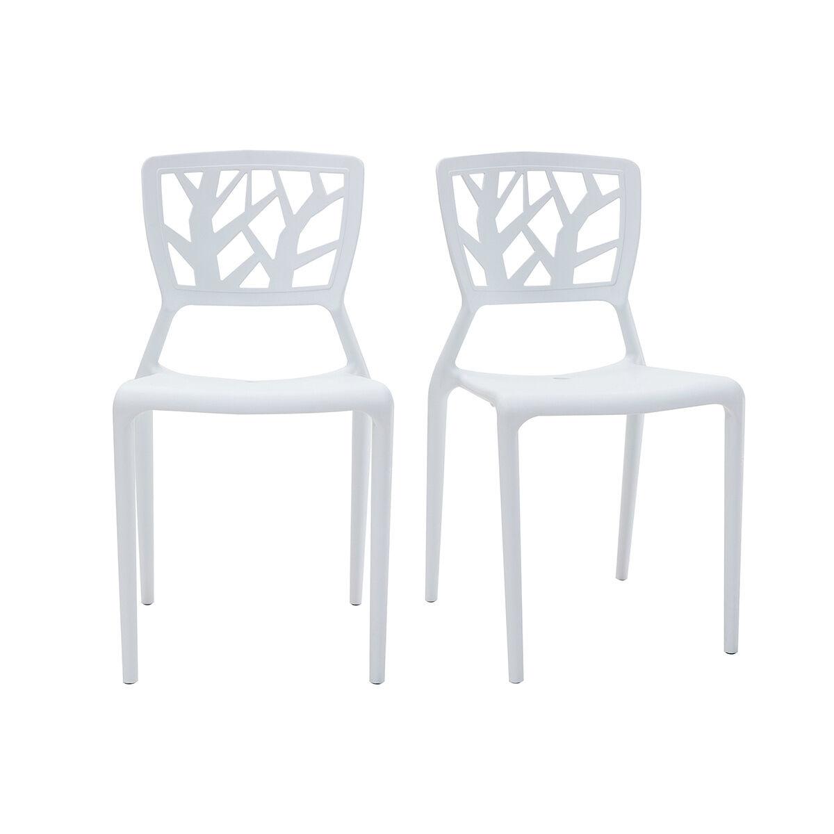Miliboo Chaises design blanches empilables intérieur / extérieur (lot de 2) KATIA