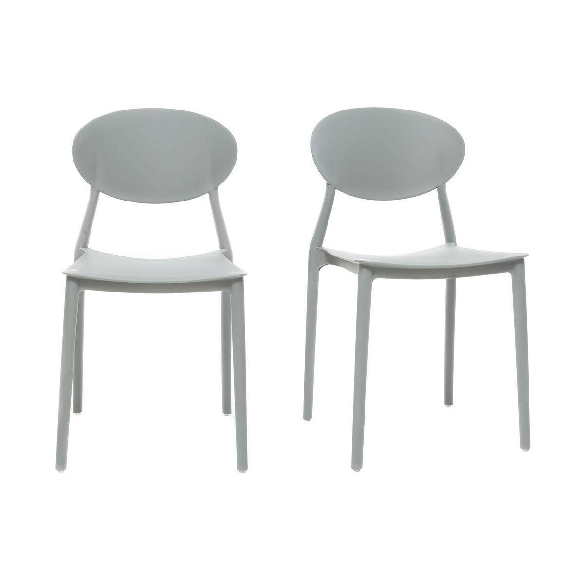 Miliboo Chaises design empilables grises intérieur / extérieur (lot de 2) ANNA
