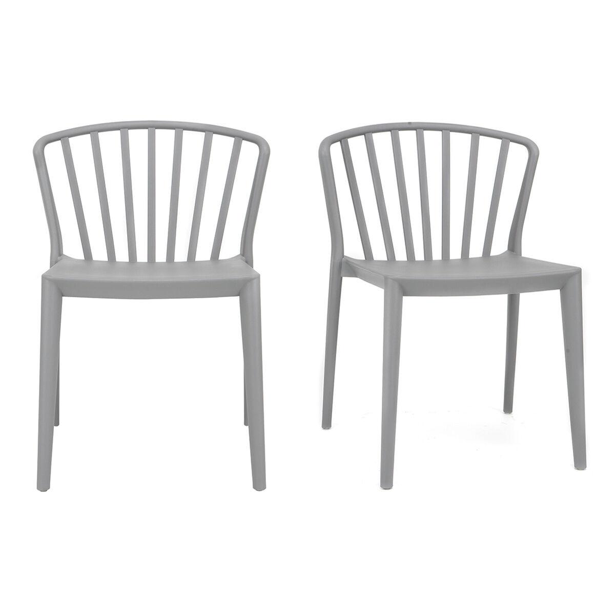Miliboo Chaises design empilables grises intérieur / extérieur (lot de 2) PATIO