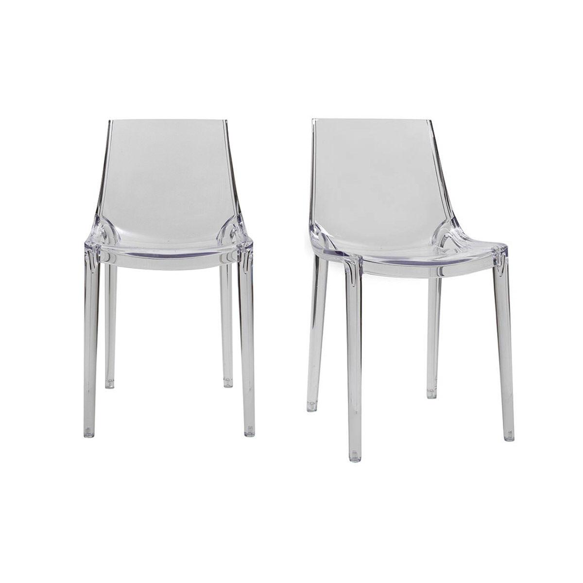 Miliboo Chaises design empilables transparentes intérieur / extérieur (lot de 2) YZEL