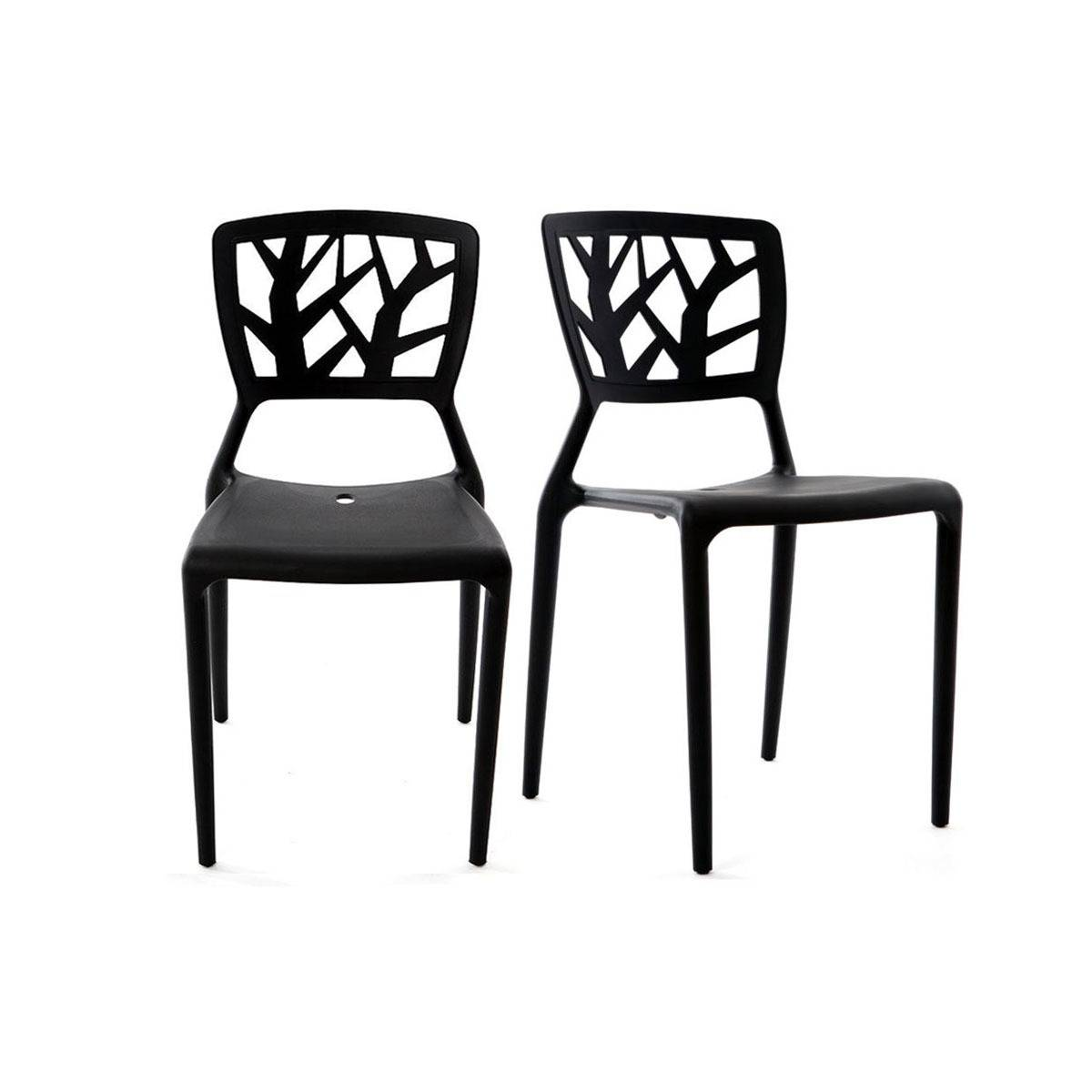 Miliboo Chaises design noires empilables intérieur / extérieur (lot de 2) KATIA