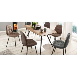 Miliboo Table à manger design finition chêne sauvage et métal BOCCA