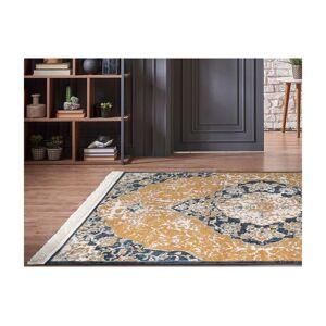 Vente-unique.be Tapis oriental à franges MINGUN - 200 x 290 cm - Jaune et bleu