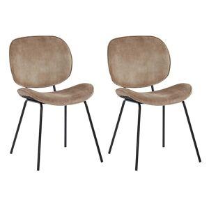 Vente-unique.be Lot de 2 chaises SABINE - Effet velours & métal - Beige
