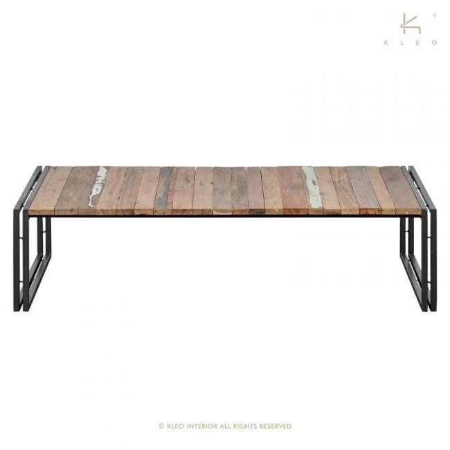 KLEO Table basse industrielle rectangulaire 1 plateau evasion 140 cm x 70 cm
