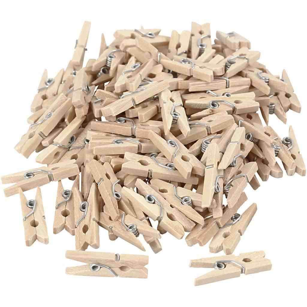 TRIBALSENSATION Lot de 100 mini pinces  linge en bois naturel   Pour Papier Photo Cr