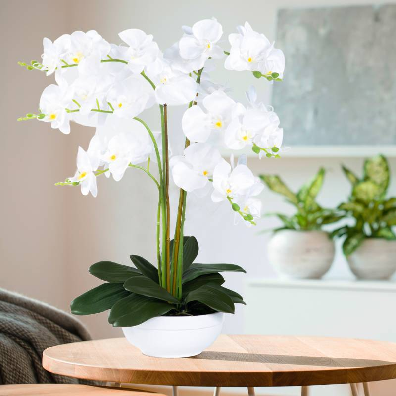"""IDMarket """"Orchidée blanche plante artificielle 60 cm double en pot"""""""