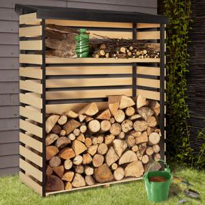 """IDMarket """"Abri de stockage en bois pour bûches toit incliné et étagère"""""""