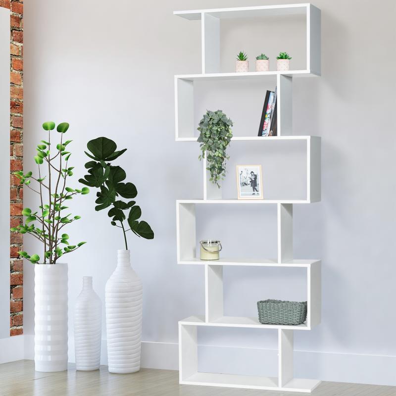"""IDMarket """"Etagère bibliothèque SOFIA forme S bois blanc 189 cm"""""""
