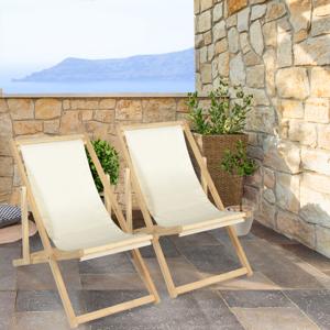 IDMarket Lot de 2 chaises longues pliantes chilienne bois avec toile écrue