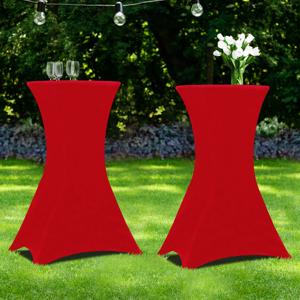 """IDMarket """"Lot de 2 tables hautes 105 cm pliantes + 2 housses bordeaux"""""""