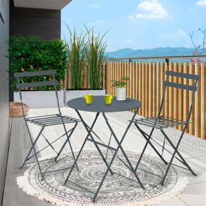 IDMarket Salon de jardin BISTROT pliant 2 places en métal gris