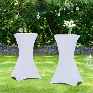 IDMarket Lot de 2 tables hautes 105 cm pliantes + 2 housses blanches