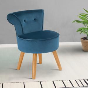 IDMarket Fauteuil crapaud en velours bleu