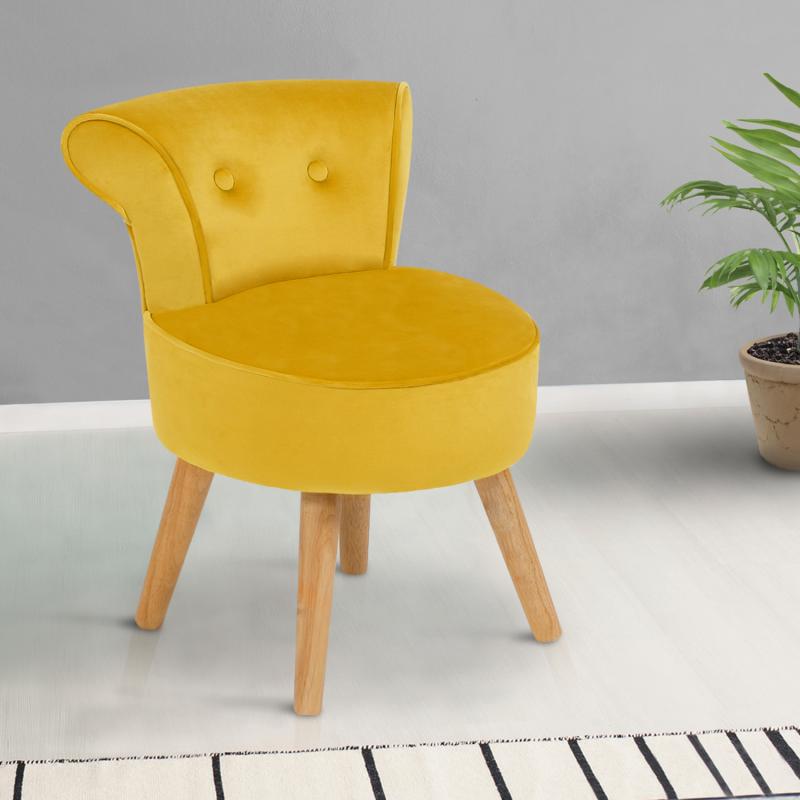 """IDMarket """"Fauteuil crapaud en velours jaune"""""""