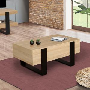 IDMarket Table basse avec coffre PHOENIX bois et noir
