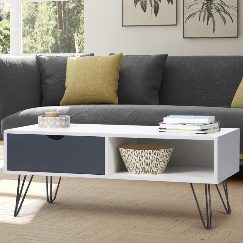 "IDMarket ""Table basse vintage NOEMI bois blanc pied épingle"""
