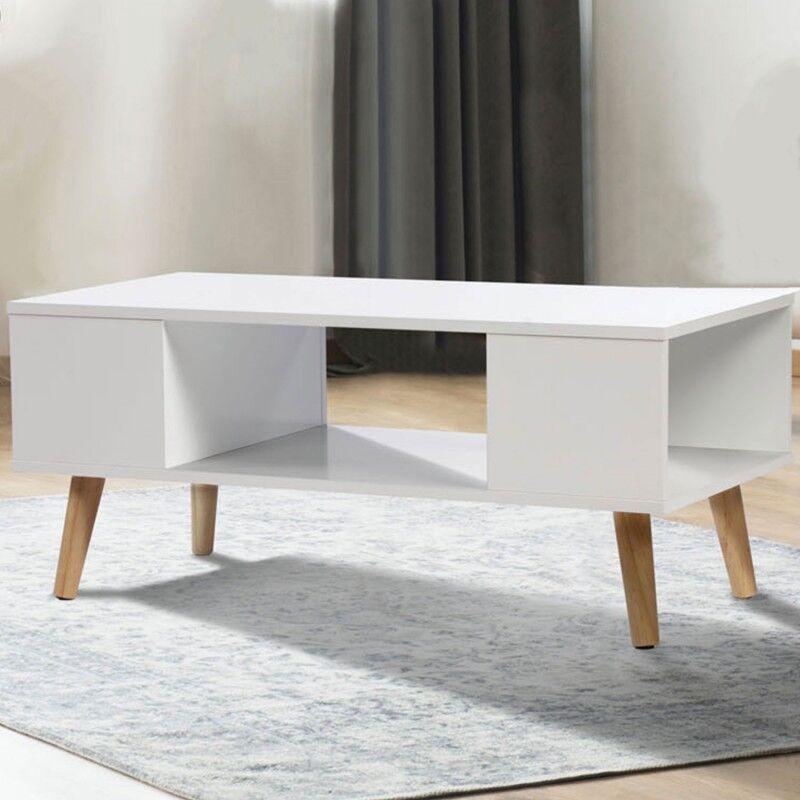 "IDMarket ""Table basse EFFIE scandinave bois blanc"""