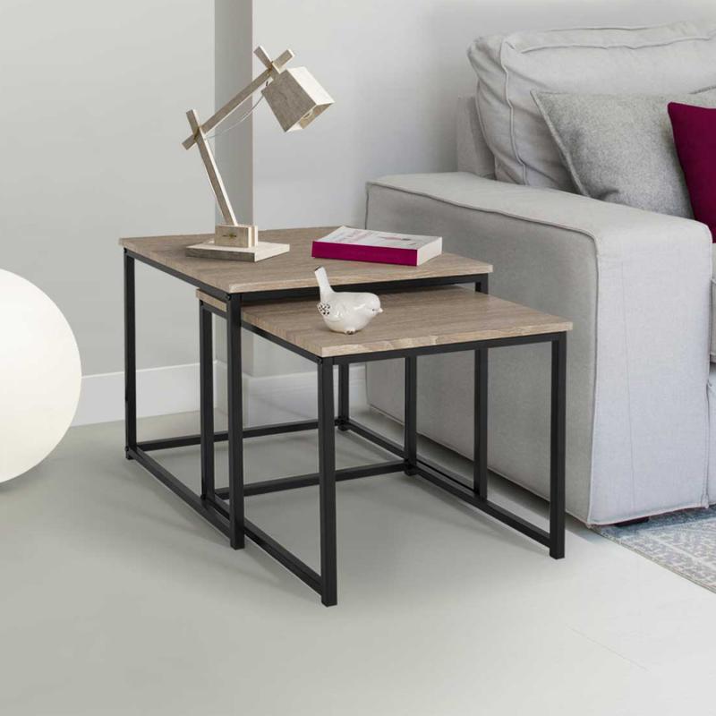 """IDMarket """"Lot de 2 tables basses gigognes DETROIT design industriel"""""""