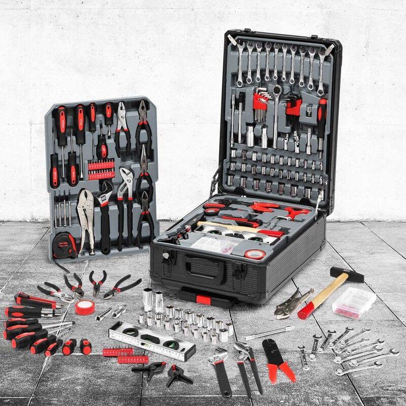 """IDMarket """"Mallette valise outils avec roulettes 308 pièces aluminium noire"""""""