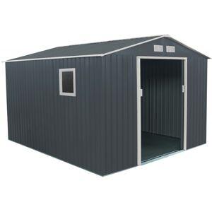 X-Metal Abri de jardin en métal 8,84m² PLUS anthracite + Kit d'ancrage