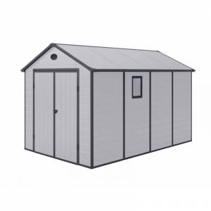 Jôbu Abri de jardin en résine gris 8,90m² + kit de fondation - JOBU